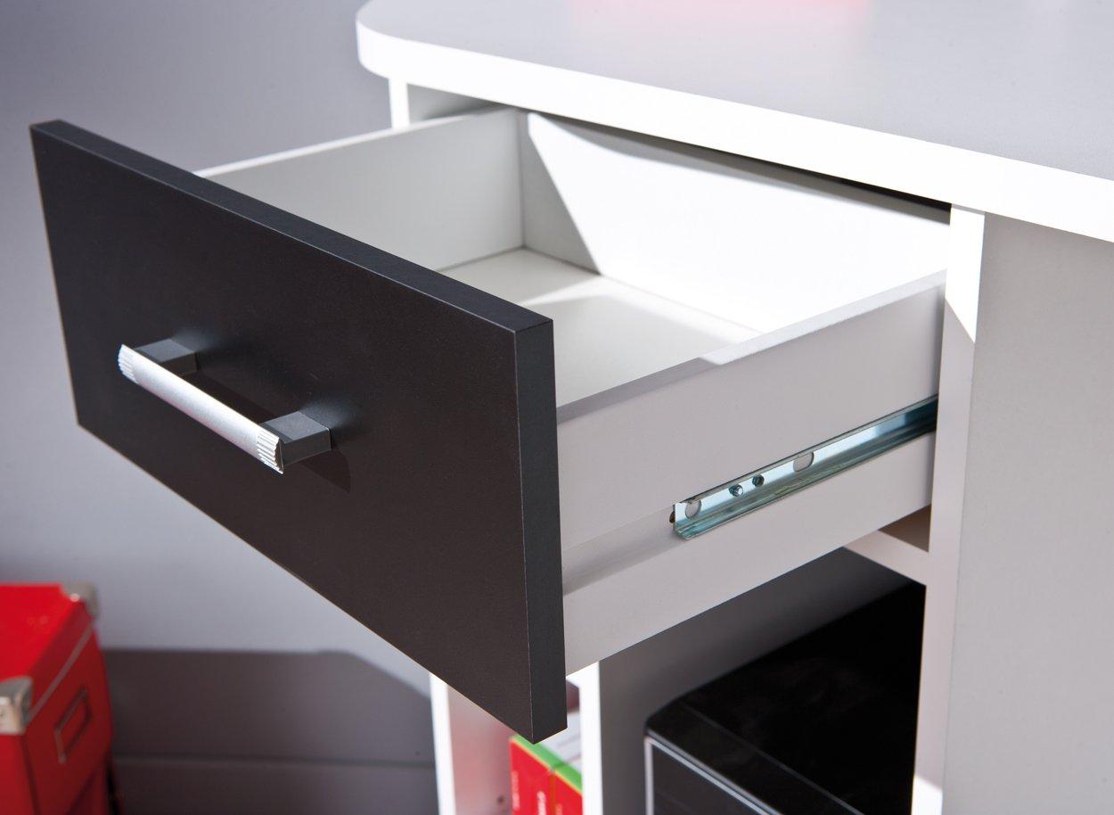 Links 13300200 Fabri Bureau D Angle 1 Porte 1 Tiroir Blanc Noir  # Bureau Ordinateur Flash Blanc