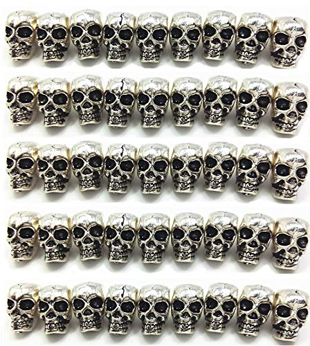 QTMY 50 PCS 4mm Macroporous Skull Spacer Beads for Jewelry Making Supplies in Bulk -