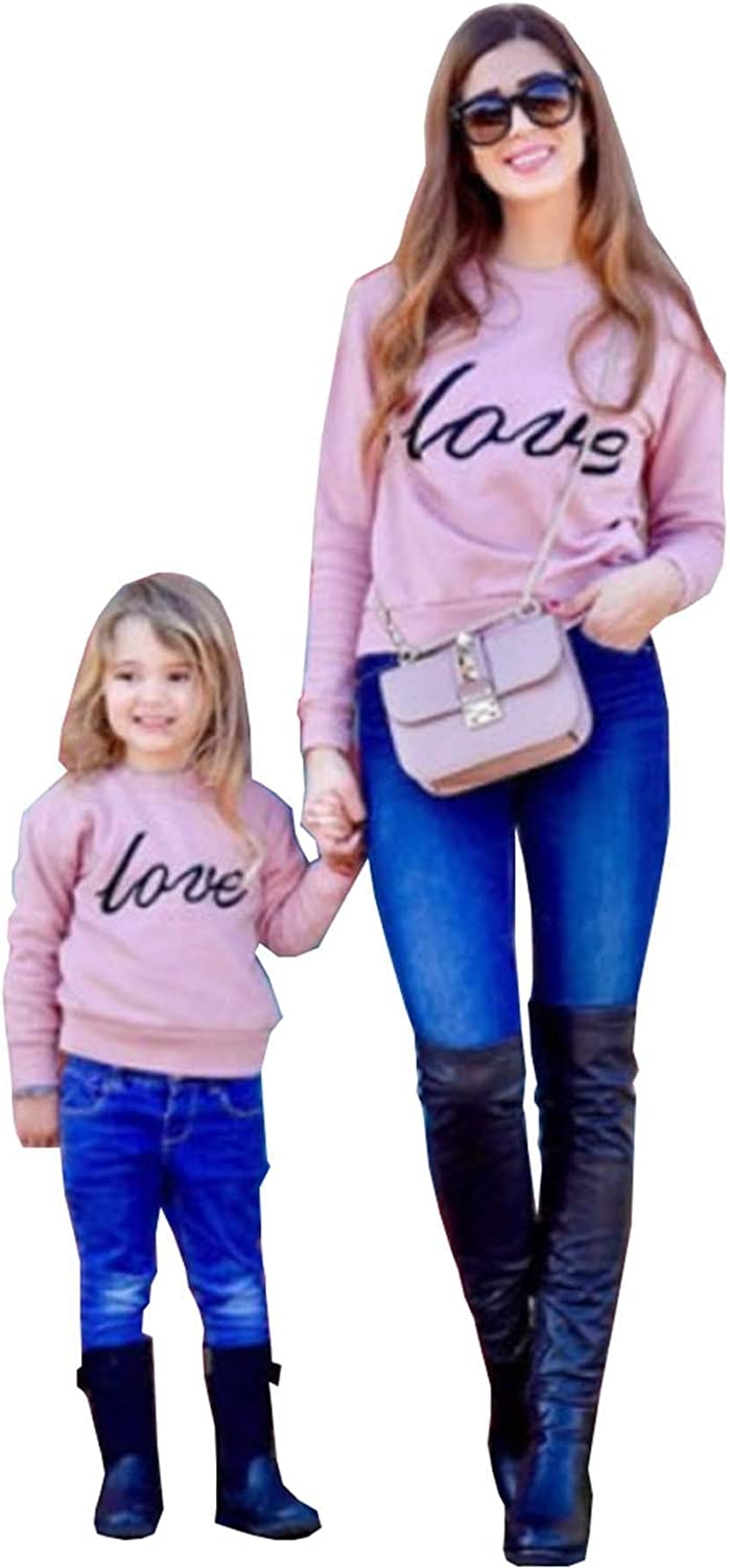 Mumetaz Mommy and Me Outfits Heart Funny Love Letter Print Long Sleeve Casual Pullover Sweatshirt Top Family Matching Clothes