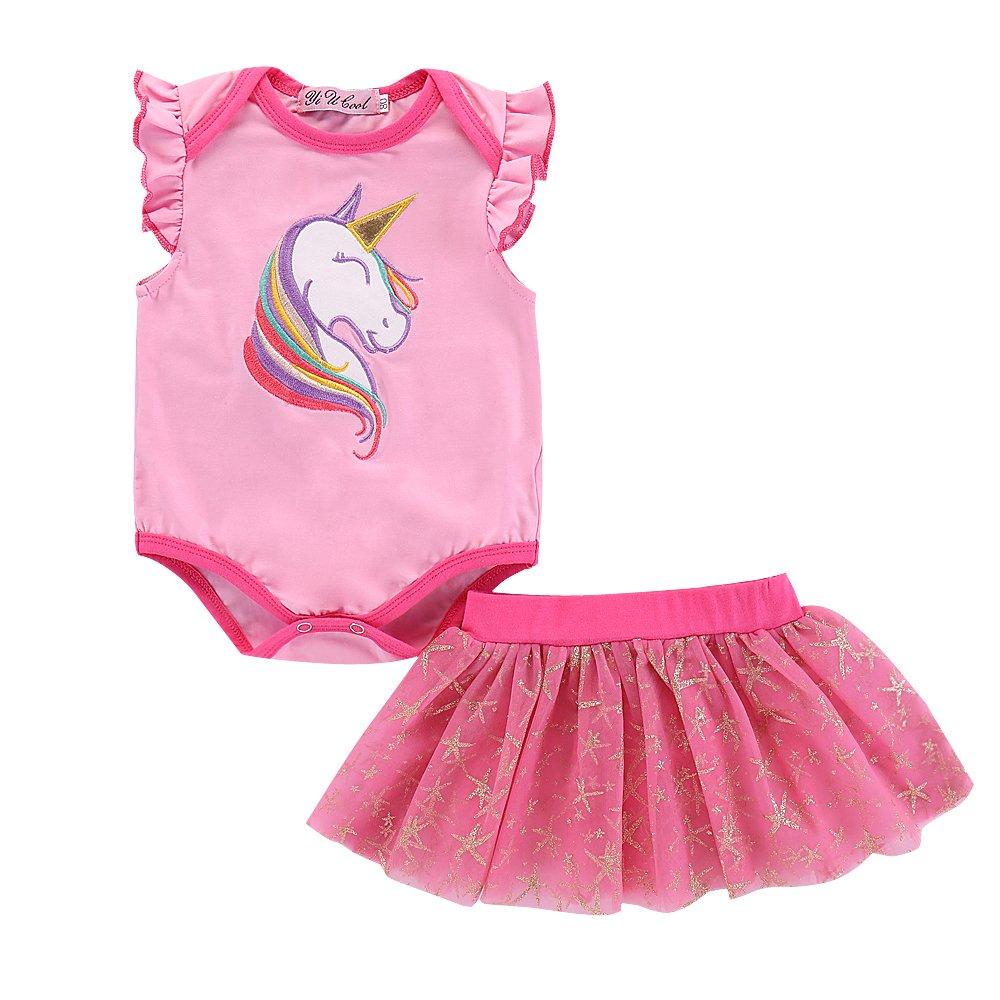 Infant Baby Girls Unicorn Print Romper Skirt MOLYHUA Toddler Girls Unicorn Dress Pink