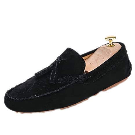 Termee Men Loafers Moccasins Slip On Shoes Male Flats Moccasin Driving Shoes Black 6.5