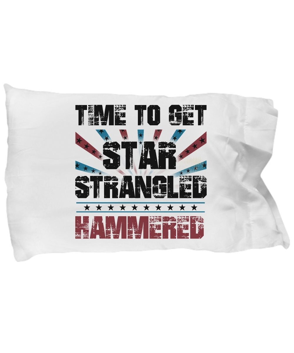 Funny Novelty Gift For 4th of July Time to Get Star Spangled Hammered Best Fourth of July Independence Day America USA Beer Pillow Case