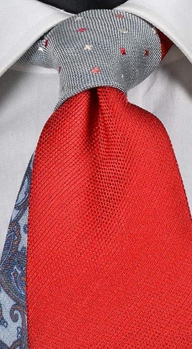 Corbata de hombre de seda y lino fucsia nudo en contraste gris ...