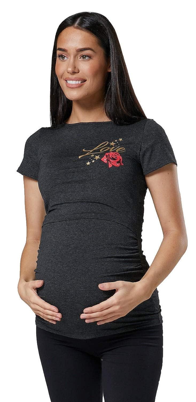 Happy Mama Damen Mutterschaft Logo Liebe Gedruckt Hemd /Öffnen Bluse 018p
