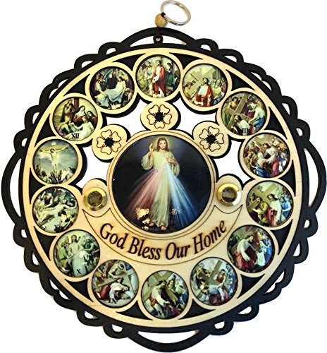 Holy Land Market Divine Mercy God Bless Our Home Wooden Wall Plaque with Holy Samples and Stations of The Cross Icons (11 inches Diameter) ()