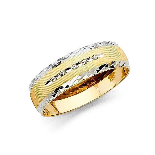 ioka joyas – 14 K dos tono oro macizo 6 mm Hombres de 5 piedra Zirconia