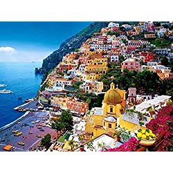 Positano, Amalfi Coast, Italy Oil Painting On Canvas Modern Wall Art Pictures For Home Decoration Wooden Framed (16X24 Inch, Framed)