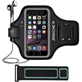 iPhone 6/6S/7/8 Armband, JEMACHE Fingerprint Touch Supported Gym Running Workout/Exercise Arm Band Case for iPhone iPhone 6/6S/7/8 with Key/Card Holder (Black)