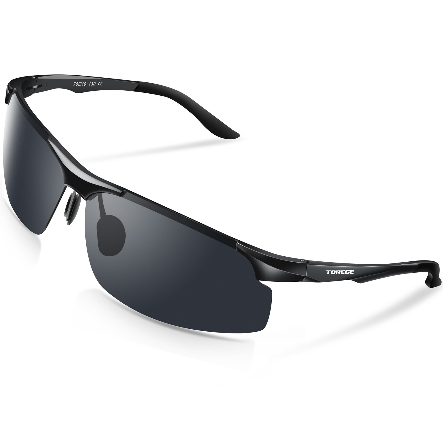 490b8078d03 Amazon.com  TOREGE Men s Sports Style Polarized Sunglasses Al-Mg Metal Frame  Glasses M291(Black Black Tips Gray Lens)  Sports   Outdoors