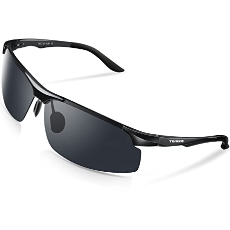 6c99c629e41 TOREGE Men s Sports Style Polarized Sunglasses Al-Mg Metal Frame Glasses  M291(Black Black Tips Gray