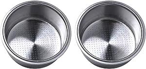 51mm Filter Basket Compatible with Breville/Delonghi Espresso Machine, Stainless Steel Espresso Filter Basket, Single Wall Non-pressurized Porous Portafilter 2-Pack