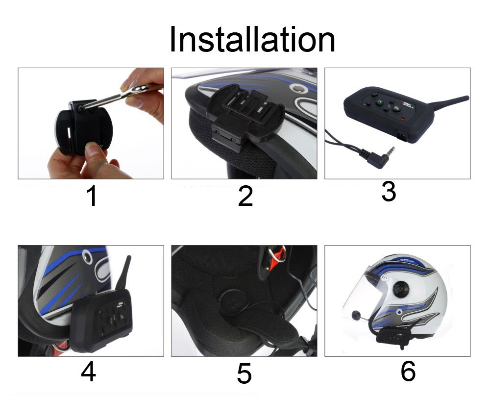 V4 1200m Intercom Moto Bluetooth,Casques Kit Moto Main Libre Ecouteur Bluetooth//Oreillette Anti Bruit Casque Communication Syst/ème Microphones,4 Cavaliers Intercom Simultan/és//FM Radio 1 Pack