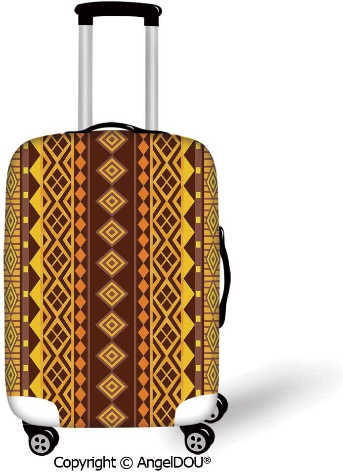 YOLIYANA Durable Elastic Suitcase Luggage Protective Cover Primitive Vertical African Geometric Ornate Bound Triangle and Diagonal Shapes Art Print Brown Yellow Trolley Dust Rain Bags Accessories. 61jmc1s0IeL