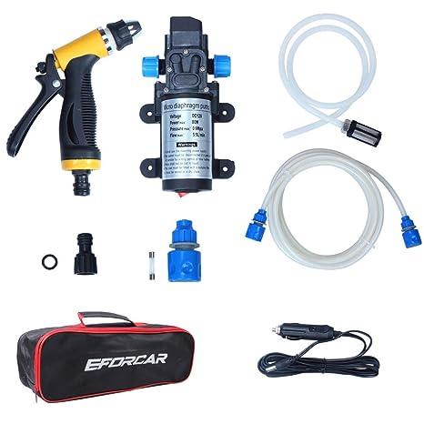Lavadora eléctrica de coches, EFORCAR bomba de lavado de coches de alta presión, 12V 80W Lavadora eléctrica de la bomba de la arandela del coche ...