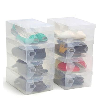 Superbe 10 Pack Of Clear Corrugated Plastic Shoe Storage Boxes By Kurtzy   Large  Collapsible Stackable Foldable