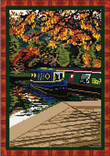 Brigantia Needlework Hebden Bridge Canal Tapestry Picture Kit in Tent Stitch, Multi-Coloured - Canal Tapestry