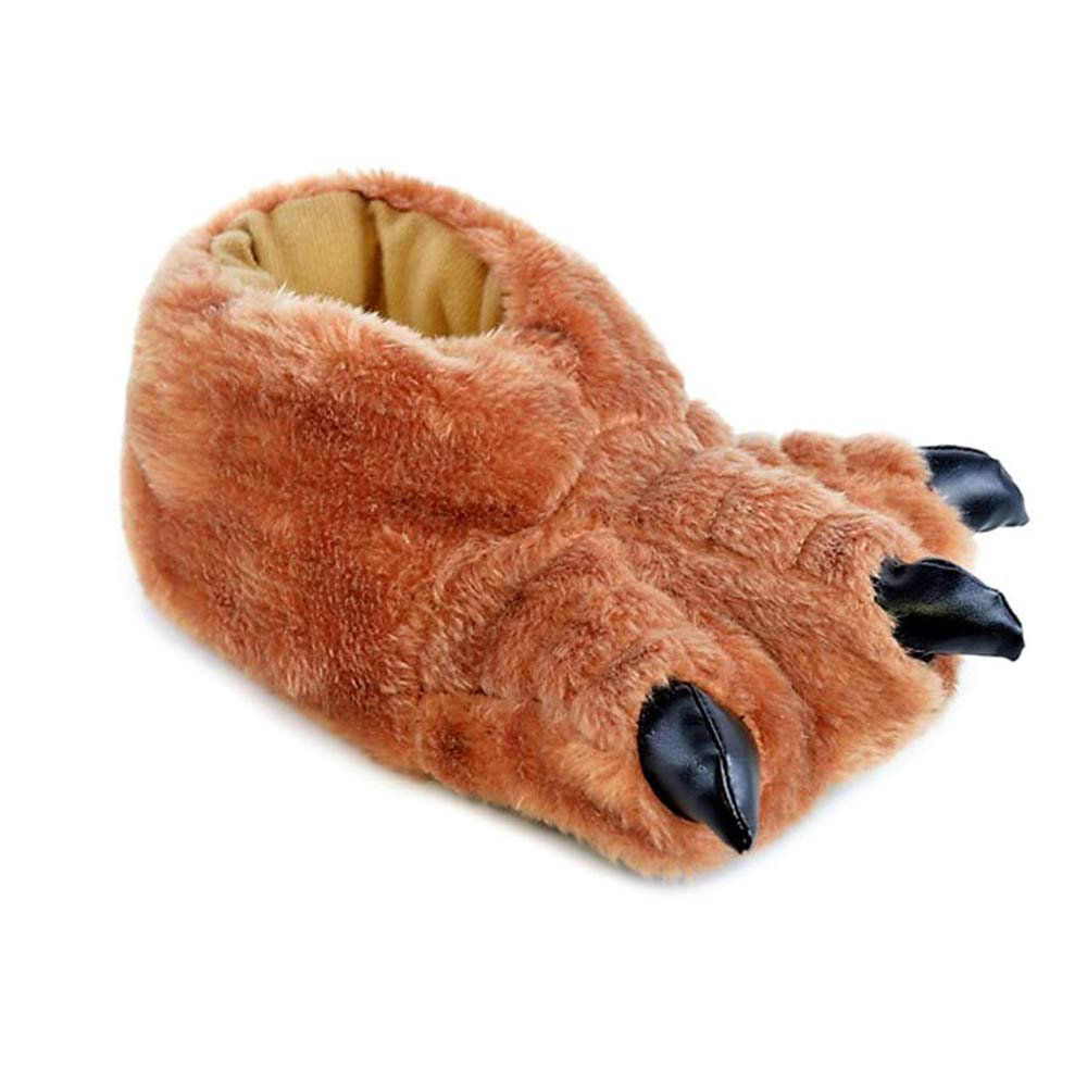 Boys Girls Faux Furry Warm Flat Grey Claw Novelty Slipper Shoe Sizes UK 1-6