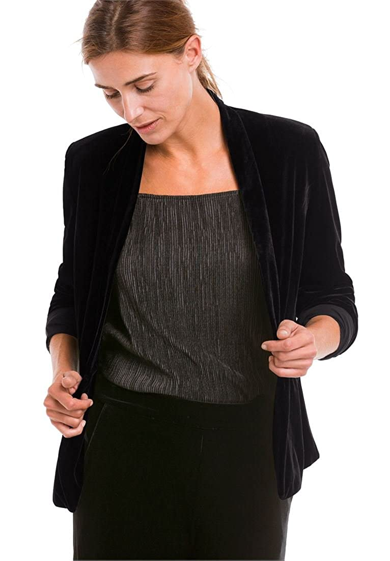 Ellos Women's Plus Size Stretch Velvet Open Blazer