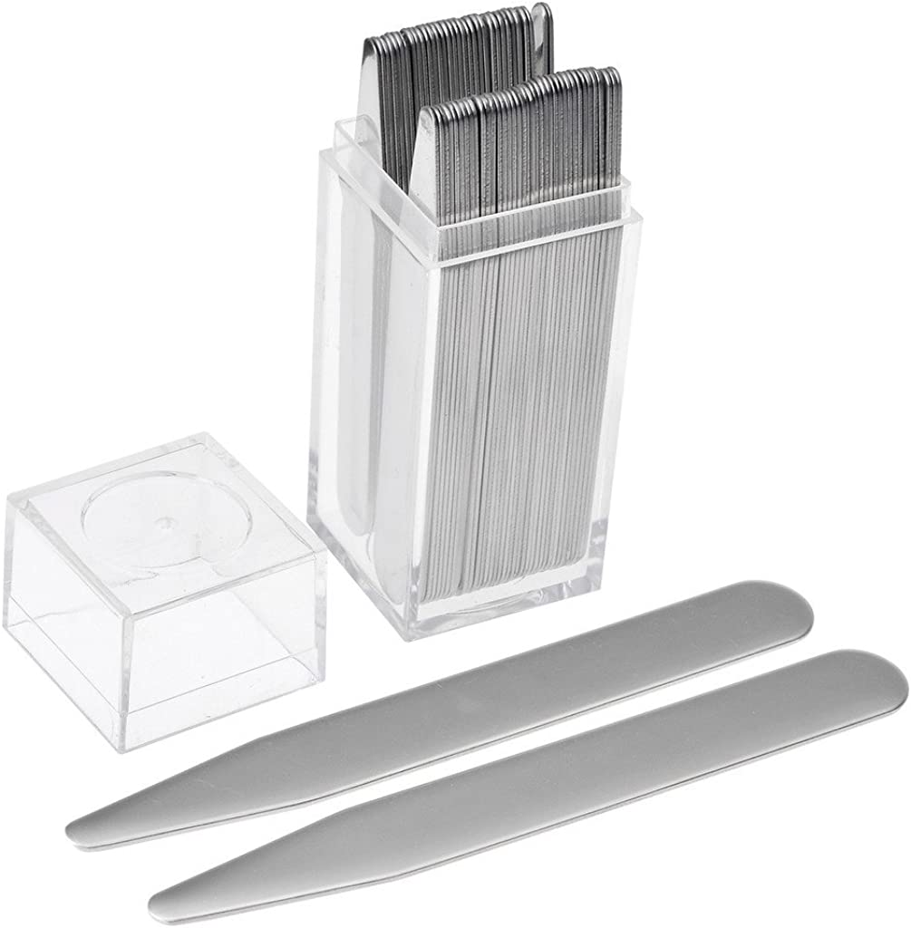 4 Set of 40-52pcs in a Clear Plastic Box xydstay Stainless Metal Collar Stays