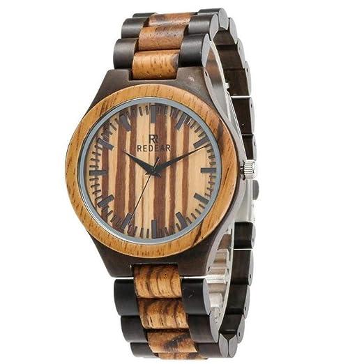 Relojes Retro Relojes de Madera Zebra Relojes de Madera Simples a Prueba de Agua, Madera de ébano: Amazon.es: Relojes