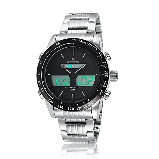 GuTe - Reloj de pulsera digital para hombre, luz LED, estilo militar, correa de acero inoxidable, plata, color blanco: Amazon.es: Relojes