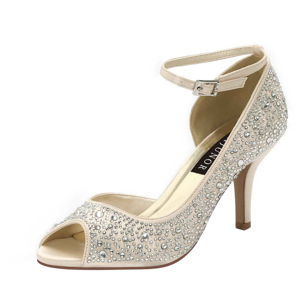 ERIJUNOR E8736 Women's Peep Toe High Heels Ankle Straps Rhinestones Satin Shoes for Wedding Prom Party Champagne US 7