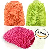 detail cloth sponges - 3Pcs Waterproof Microfiber Car Wash Mitts Premium Chenille Ultra-soft Scratch-Free Lint Free Gloves Absorbent Dusting Polishing Cleaning Sponge Cloth Kit Wet or Dry Use, Rose Red Green Orange