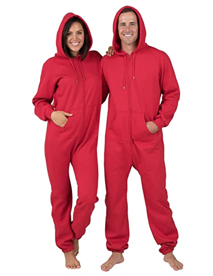 fcb4a59381 Amazon Com Footed Pajamas Red Adult Footless Hoodie One