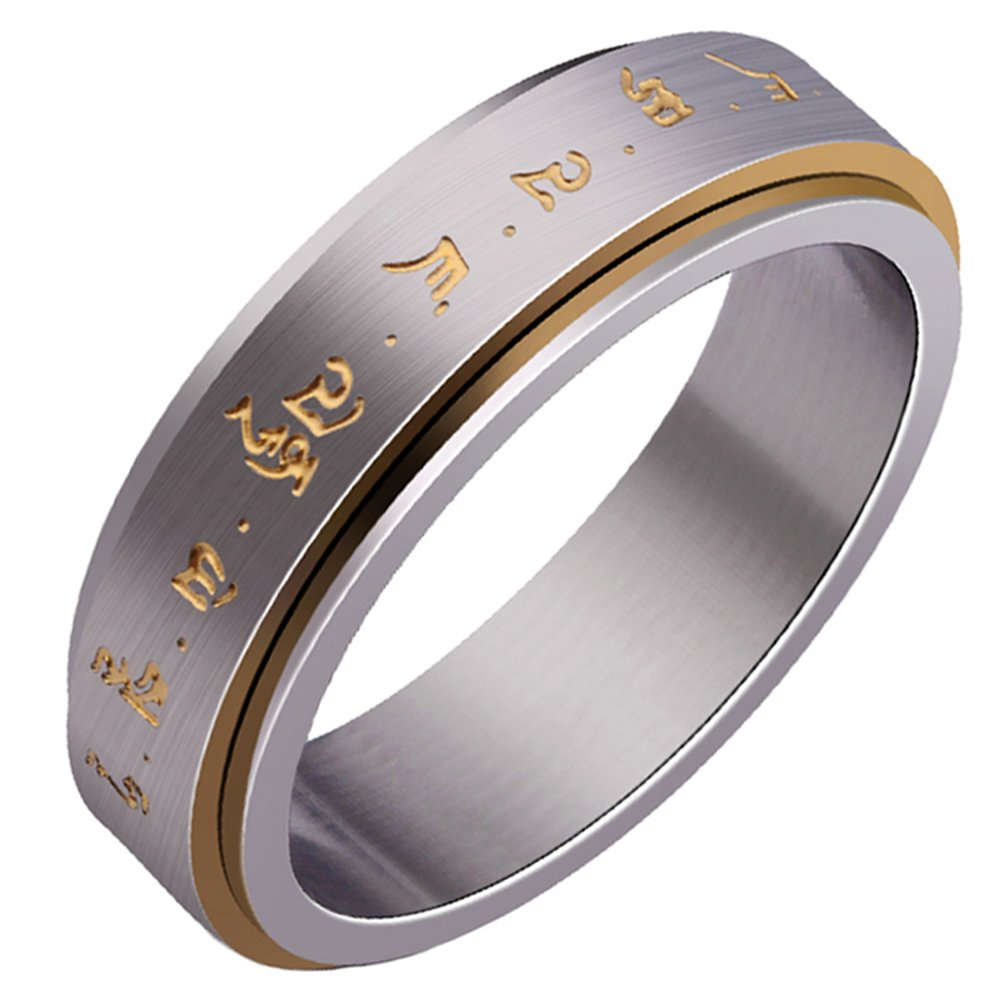 HIJONES Men's Stainless Steel Buddhist Gold Mantra Pattern Spinner Lucky Ring Size 11