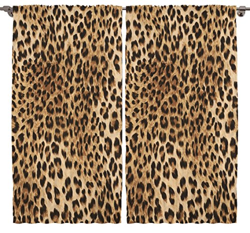 Ambesonne Leopard Print Curtains, Skin Pattern of a Wild Safari Animal Powerful Panthera Big Cat, Living Room Bedroom Window Drapes 2 Panel Set, 108 W X 84 L Inches, Brown Beige