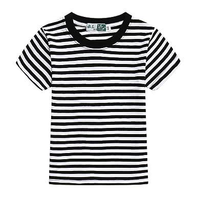 706b8a2d Amazon.com: Airvid Unisex Kids Classic Striped T-Shirt Girls Boys Crewneck  Cotton Jersey Tee: Clothing