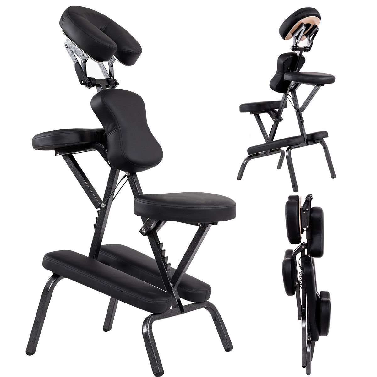 Portable PU Leather Pad Travel Massage Tattoo Spa Chair W/Carrying Bag Black by Allblessings (Image #1)