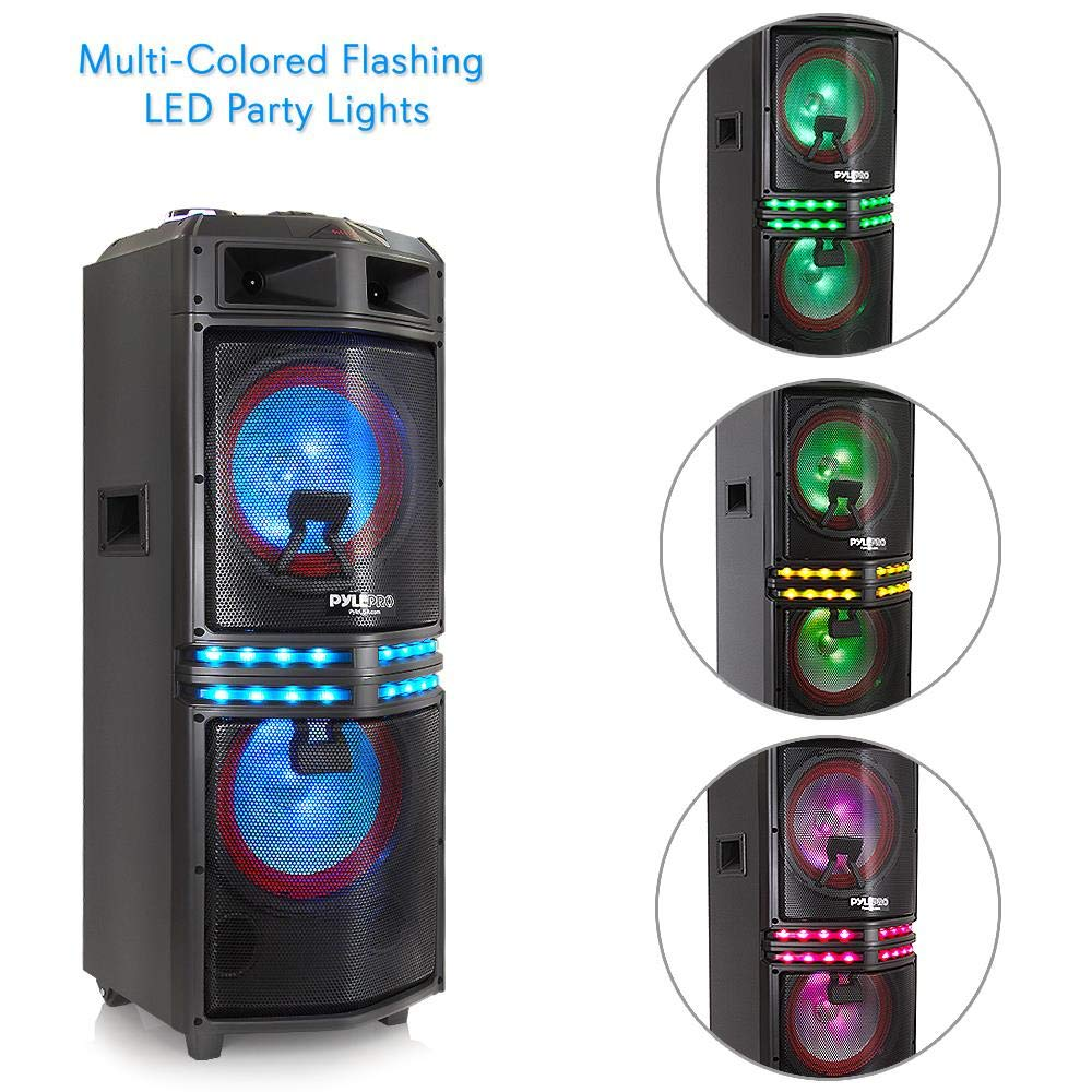 Wireless Portable PA Speaker System - 500 W Battery Powered Rechargeable  Sound Speaker and Microphone Set with Bluetooth MP3 USB Micro SD FM Radio  AUX