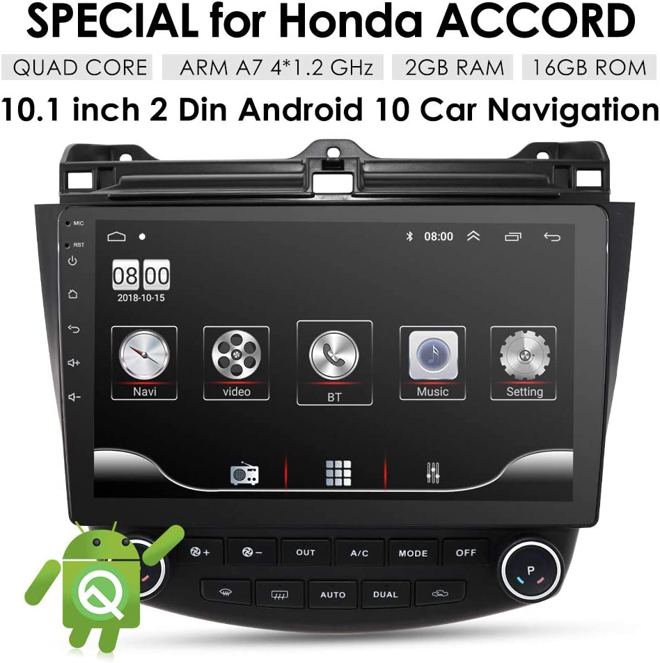 OSSURET 10.1 Inch 16GB Android 10 Car Audio GPS Navigation for Honda Accord 7 2003-2007 Head Unit A//C Control 1080P Video Bluetooth Mirror Link
