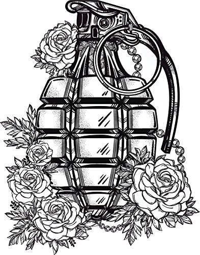 Pretty Vintage Romantic Grenade with Roses Cartoon - Black and White Vinyl Decal Sticker (12