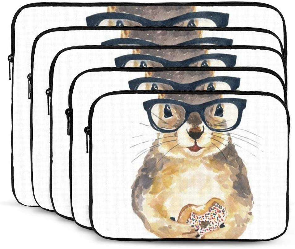 Squirrel Print Nerdy Squirrel Sprinkle Donut Hipster Glasses 12/13/15/17 Inch Laptop Sleeve Bag For Macbook Air 13 15 Macbook Pro Portable Zipper Laptop Bag Tablet Bag,Diving Fabric,Waterproof