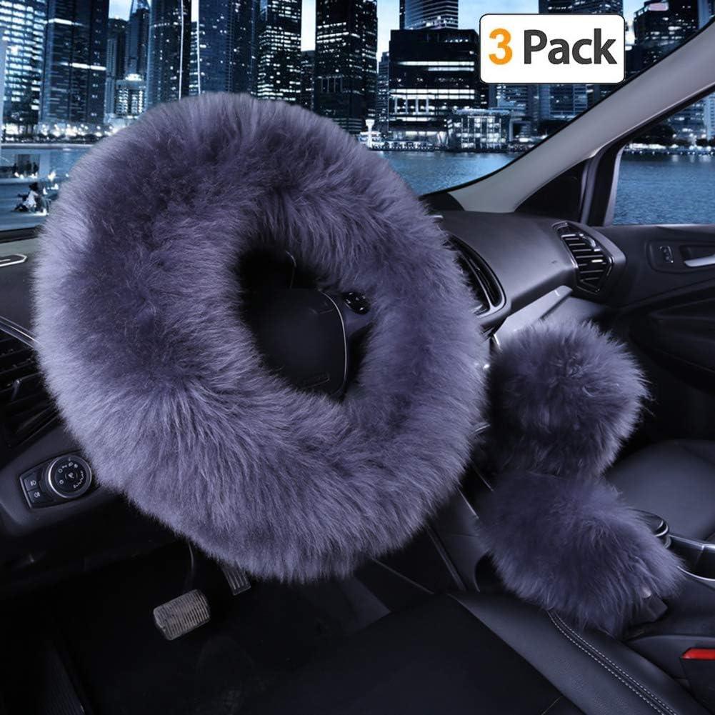 Younglingn Car Steering Wheel Cover Gear Shift Handbrake Fuzzy Cover