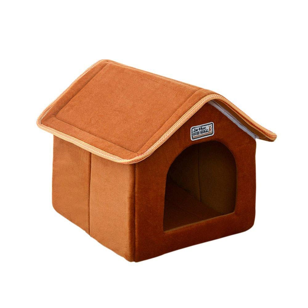 Brown SPet Nest Movable Dog House Dog Hole Cat Hole Pet Nest Dog Bed Cat Bed Pet Sleeping Bag Small Animal Beds (color   Leopard, Size   M)