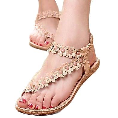 fac074871c86 Summer Bohemia Sweet Beaded Sandals Clip Toe Sandals Beach Shoes ...
