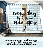 Mannwarehouse Adventure Room Darkening Wide Curtains Every Day is a New Adventure Quote Inspirational Things About Life Artwork Decor Curtains By Baby Blue Black