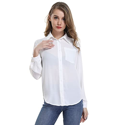 Oyeahgirl Women S Button Up Shirts Solid Collared Sheer Long Sleeve