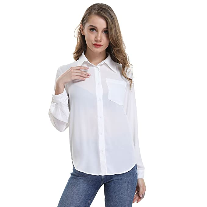 a2f8048bb16 OYEAHGIRL Women s Button up Shirts Solid Collared Sheer Long Sleeve Chiffon  Loose Blouse Top with Plus