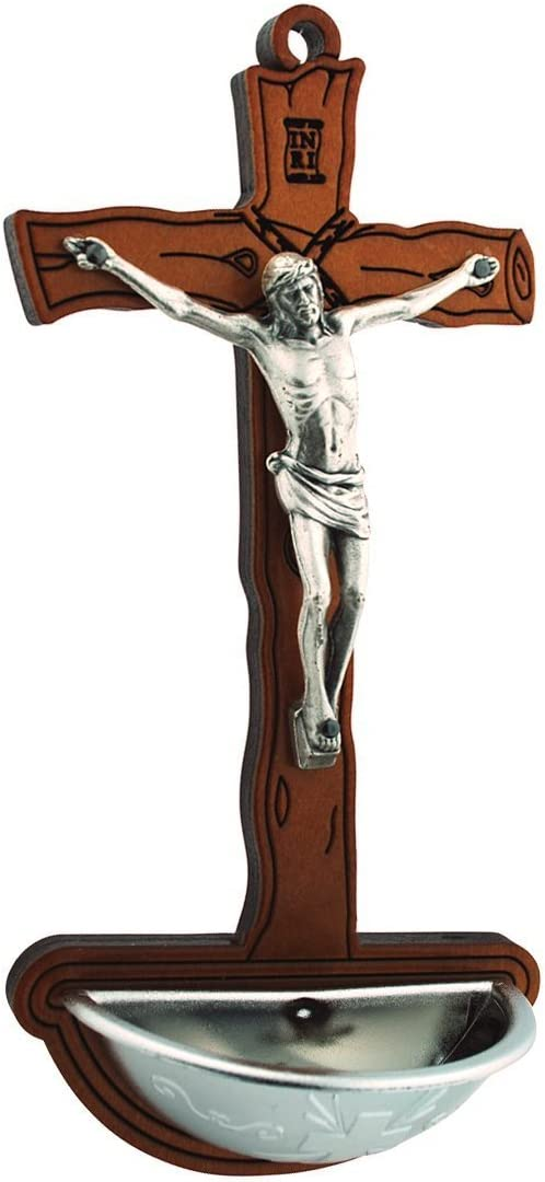 Vaticano Imports Crucifix Holy Water Font, 6 3/4 Inches
