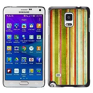 Caucho caso de Shell duro de la cubierta de accesorios de protección BY RAYDREAMMM - Samsung Galaxy Note 4 SM-N910F SM-N910K SM-N910C SM-N910W8 SM-N910U SM-N910 - Stripes Painting Watercolor Rainbow Art