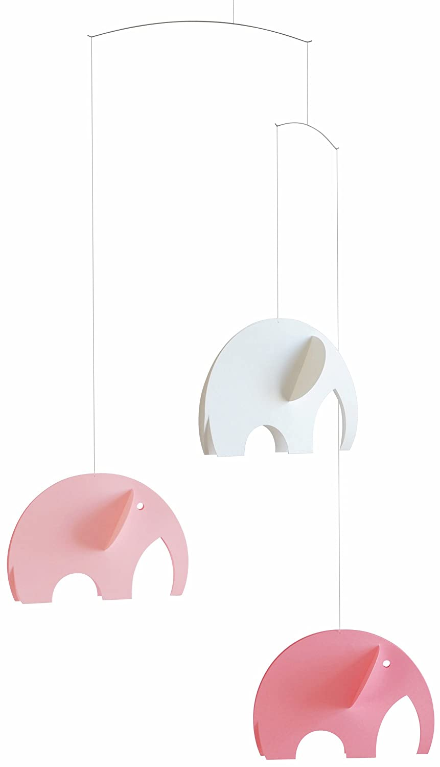 Elephant Pink Hanging Nursery Mobile - 24 Inches Plastic - Handmade in Denmark by Flensted