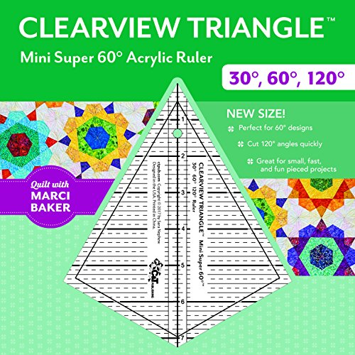 Clearview Triangle™ Mini Super 60™ Acrylic Ruler: 30 degree, 60 degree, 120 degree