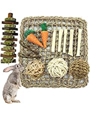 Tfwadmx Rabbit Activity Mat Bunny Chew Toy for Teeth Grinding Small Animal Activity Zone Natural Seagrass Protector Mat Balls Carrots Chew Toys for Hamster,Chinchilla,Guinea Pig or Other Rodent Pets