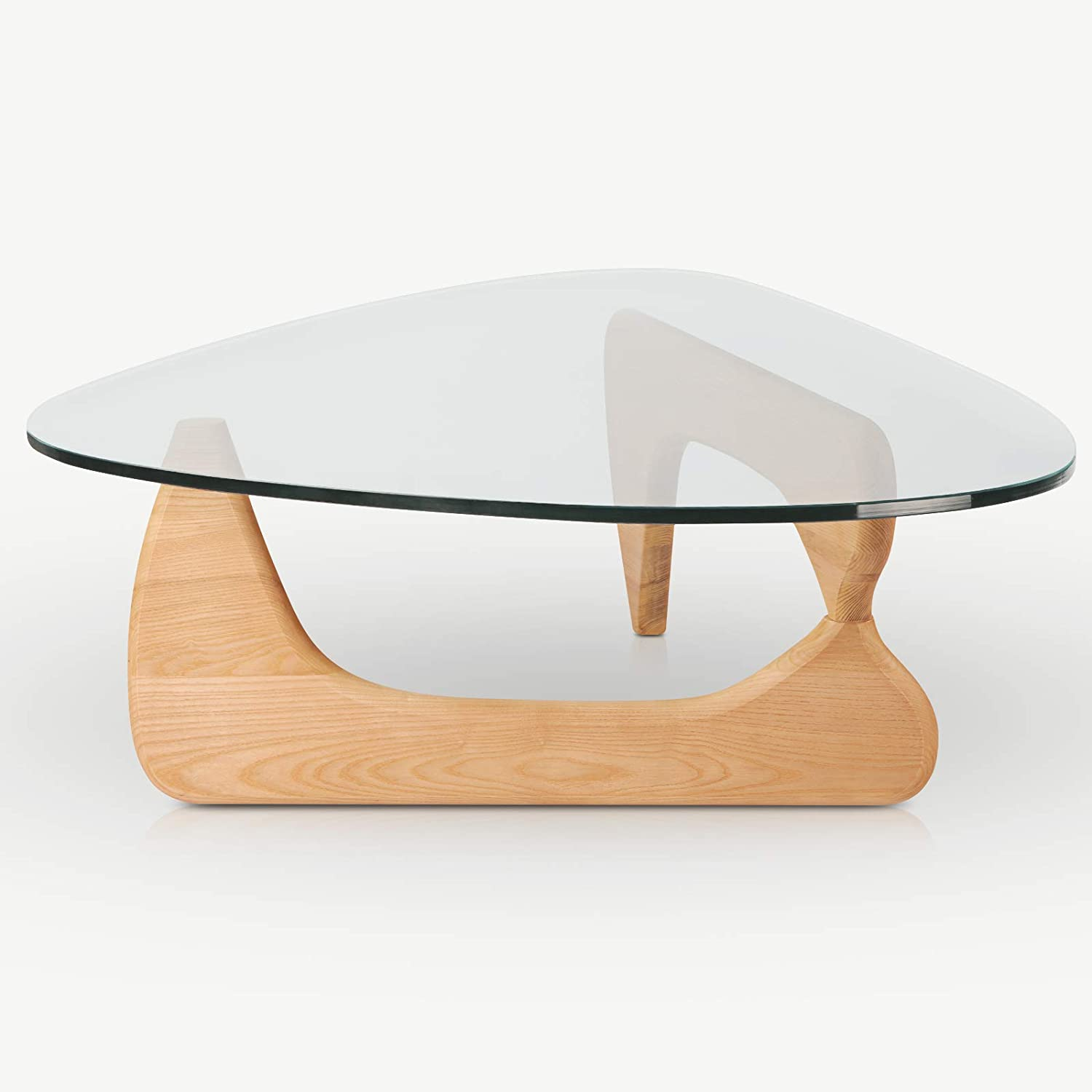 Amazon Com Rimdoc Triangle Glass Coffee Table Vintage Glass End Table Solid Wood Base And Triangle Clear Glass Top Modern End Table For Living Room Patio Study Wooden Kitchen Dining