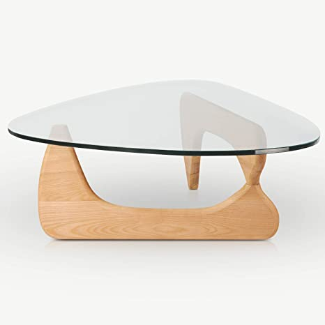 Amazon Com Rimdoc Triangle Glass Coffee Table Vintage End Solid Wood Base And Clear Top Modern For Living Room Patio Study Wooden Kitchen Dining
