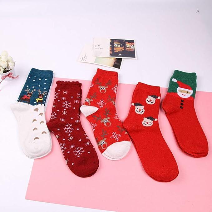 Calcetines de Navidad, Morbuy Set de calcetín de 5 pares Caja De Regalo Para Mujer Mezcla de algodon Invierno Calcetines Suaves del día de Fiesta de las ...